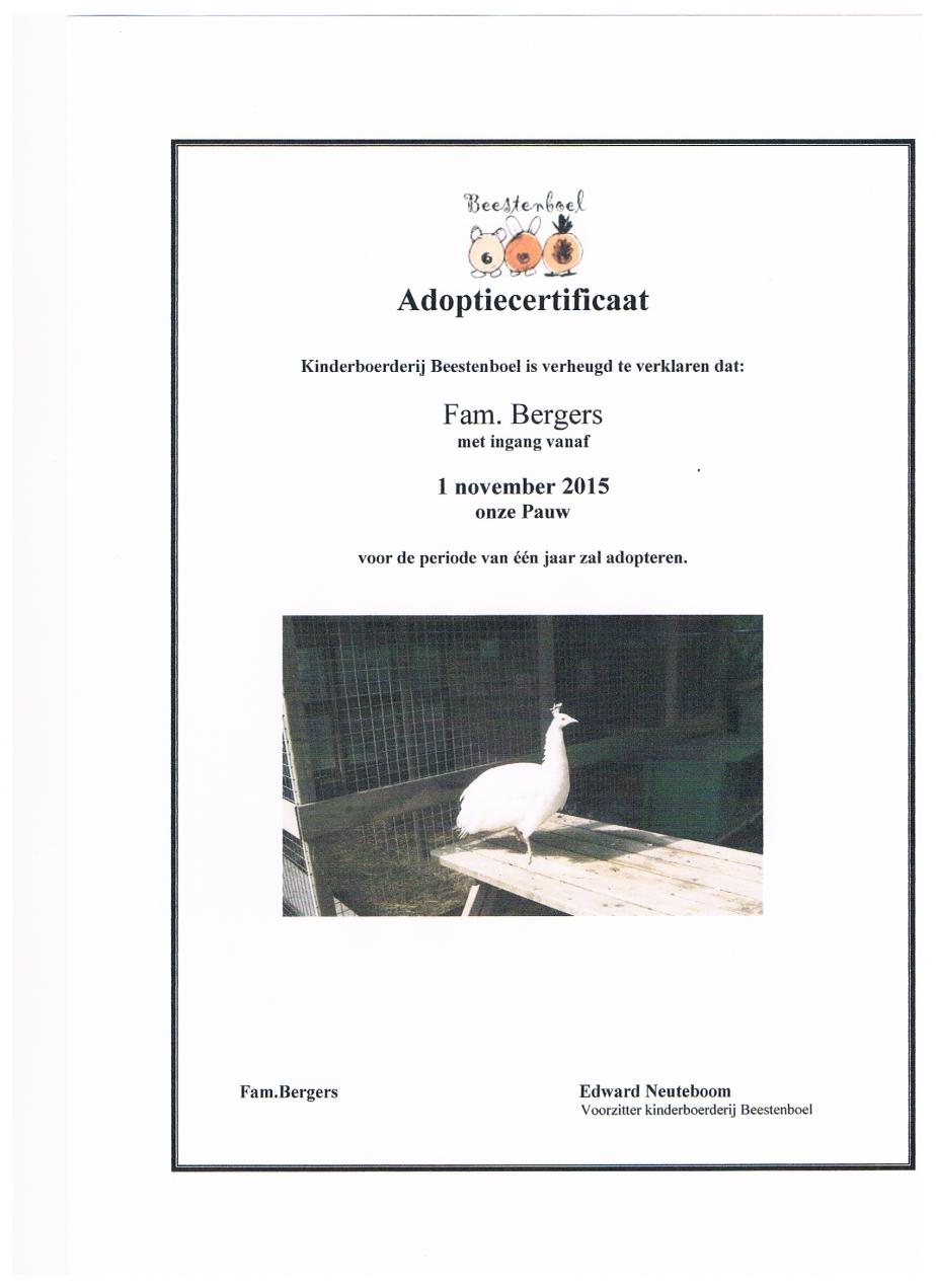 certificaat pauw