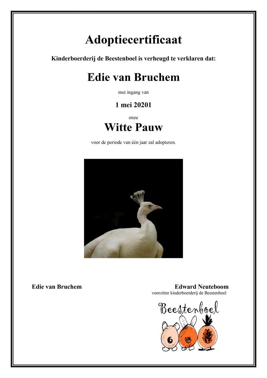 Adoptiecertificaat Witte Pauw Mei 2021