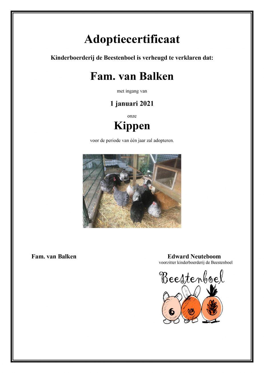 Adoptiecertificaat kippen Fam. van Balken